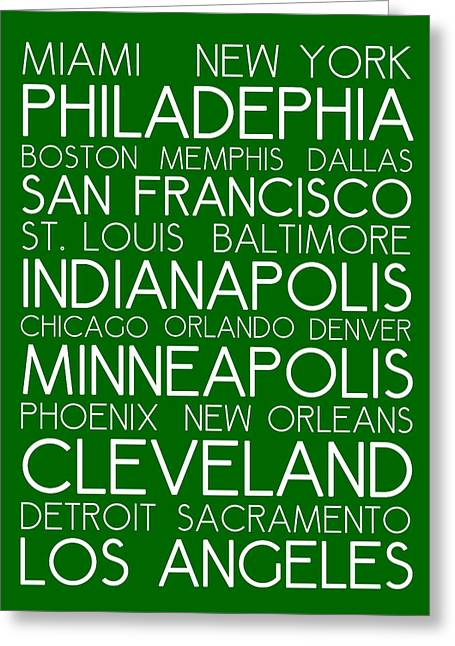 Charlotte Mixed Media Greeting Cards - American Cities in Bus Roll Destination Map Style Poster - Green  Greeting Card by Adam Asar