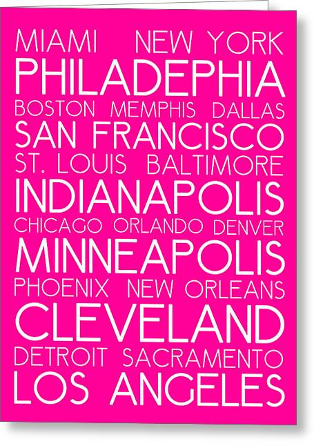 Charlotte Greeting Cards - American Cities in Bus Roll Destination Map Style Poster - Pink Greeting Card by Adam Asar