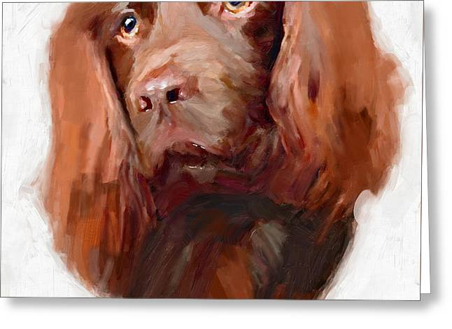 Spaniel Greeting Cards - Spaniel Dog art CANVAS print of Vya painting  Greeting Card by Vya Artist