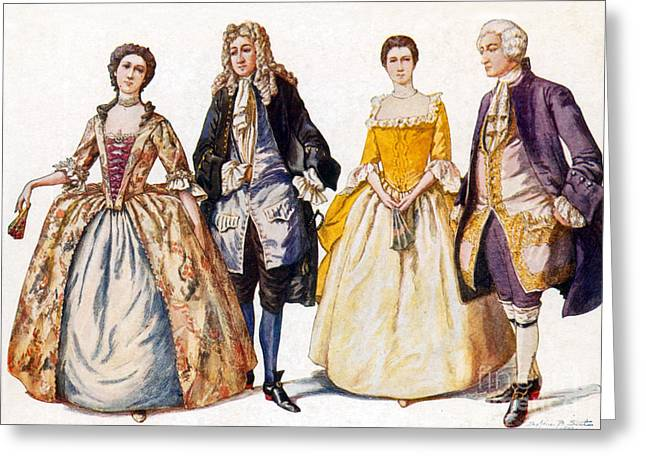 Apparel Greeting Cards - American Colonial Fashion, 18th Century Greeting Card by Science Source