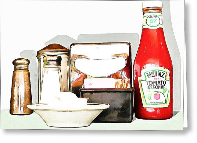 American Diner 20160221 Square Greeting Card by Wingsdomain Art and Photography