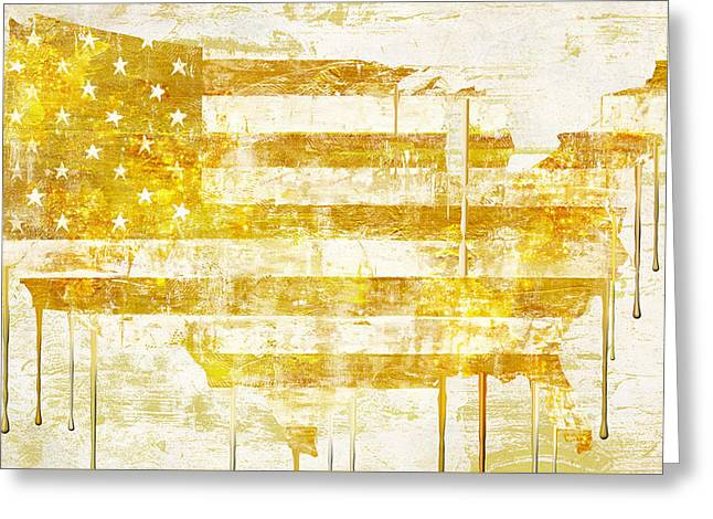 Graffiti Art Greeting Cards - American Flag Map Greeting Card by Mindy Sommers