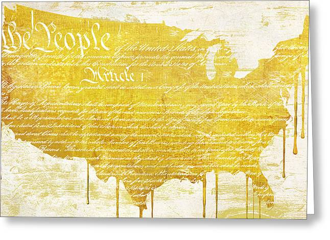 Graffiti Paintings Greeting Cards - Gold American Map Constitution Greeting Card by Mindy Sommers