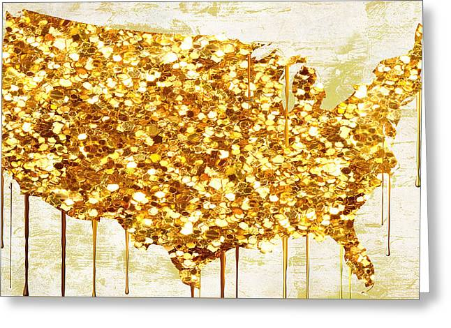Dripping Paintings Greeting Cards - Glitter Gold American Map Greeting Card by Mindy Sommers