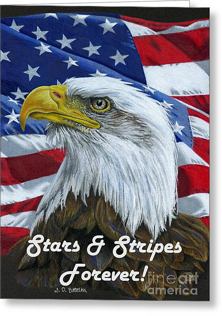 4th July Drawings Greeting Cards - American Eagle- Stars And Stripes Forever Greeting Card by Sarah Batalka