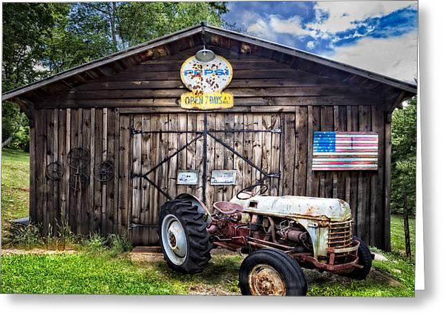 Wagon Wheels Greeting Cards - American Farm Greeting Card by Debra and Dave Vanderlaan
