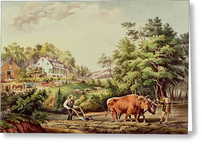 Farm Scenes Greeting Cards - American Farm Scenes Greeting Card by Currier and Ives