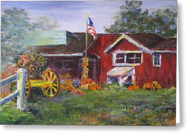 Farmstand Greeting Cards - American Farmstand Greeting Card by Laurie Samara-Schlageter