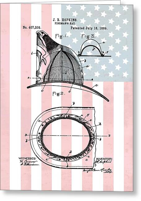 American Firefighter's Helmet Greeting Card by Dan Sproul