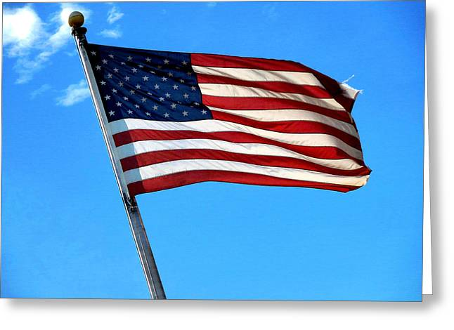 4th July Greeting Cards - American flag 1 Greeting Card by Lanjee Chee