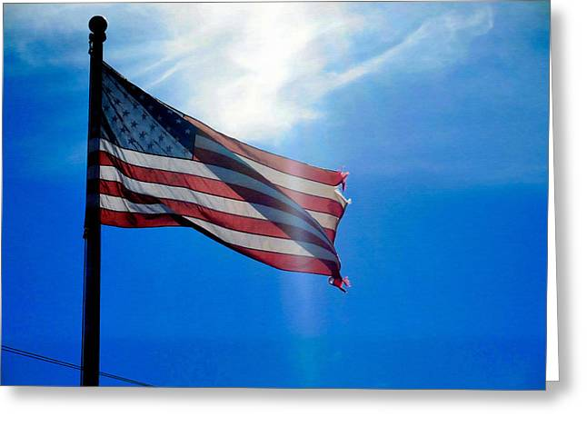 4th July Greeting Cards - American flag 5 Greeting Card by Lanjee Chee