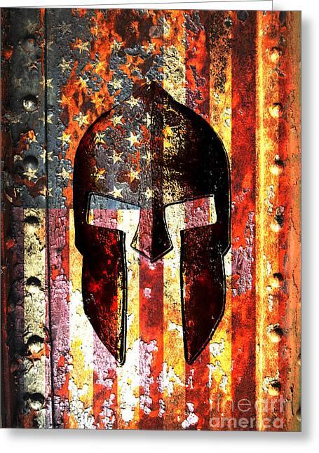 American Flag And Spartan Helmet On Rusted Metal Door Greeting Card by Fred Bertheas