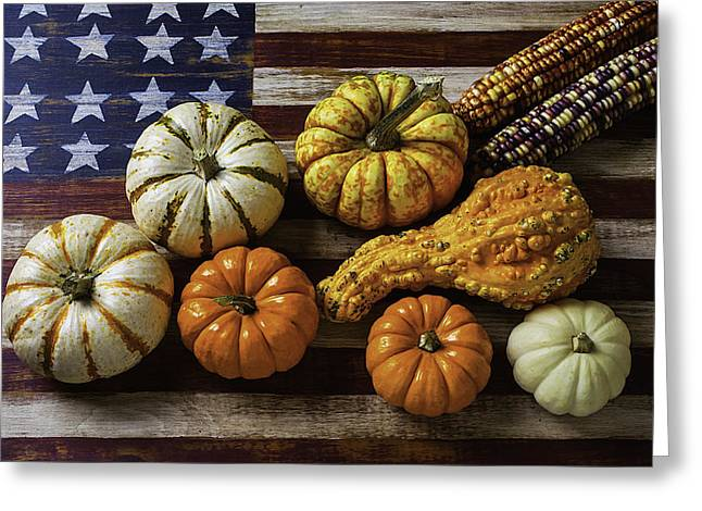American Flag Autumn Harvest Greeting Card by Garry Gay