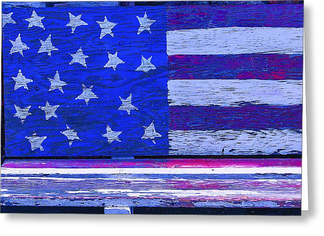 Flag Of Usa Greeting Cards - American Flag Bench Greeting Card by Garry Gay