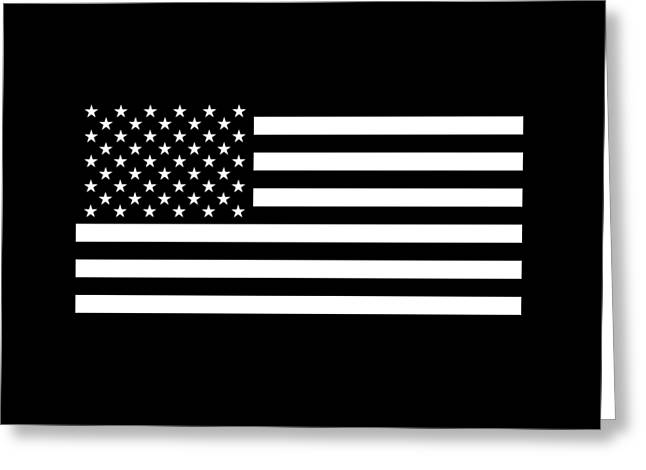 American Flag - Black And White Version Greeting Card by War Is Hell Store