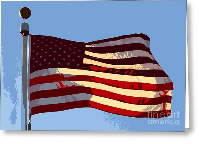 Stars And Strips Greeting Cards - American Flag Greeting Card by David Lee Thompson