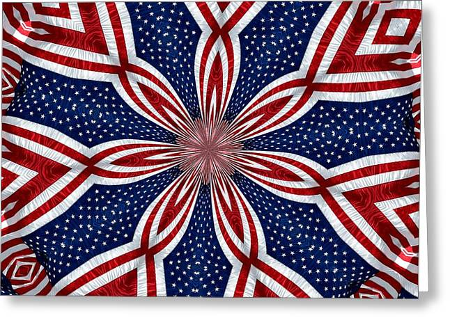 4th July Greeting Cards - American Flag Kaleidoscope Abstract 1 Greeting Card by Rose Santuci-Sofranko
