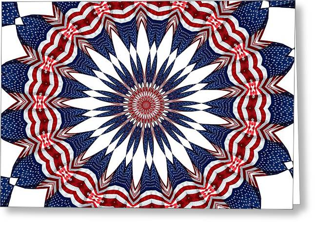 Election Day Digital Greeting Cards - American Flag Kaleidoscope Abstract 4 Greeting Card by Rose Santuci-Sofranko