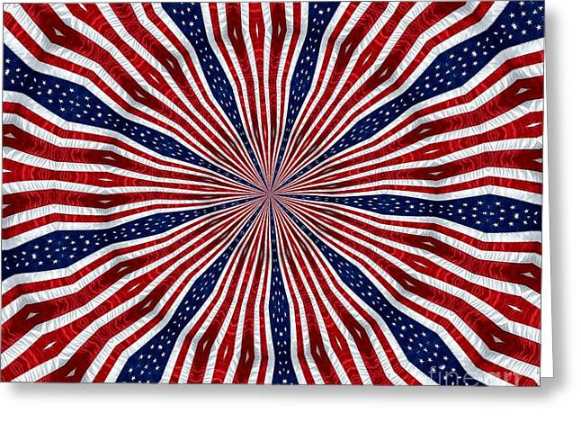 4th July Greeting Cards - American Flag Kaleidoscope Abstract 6 Greeting Card by Rose Santuci-Sofranko