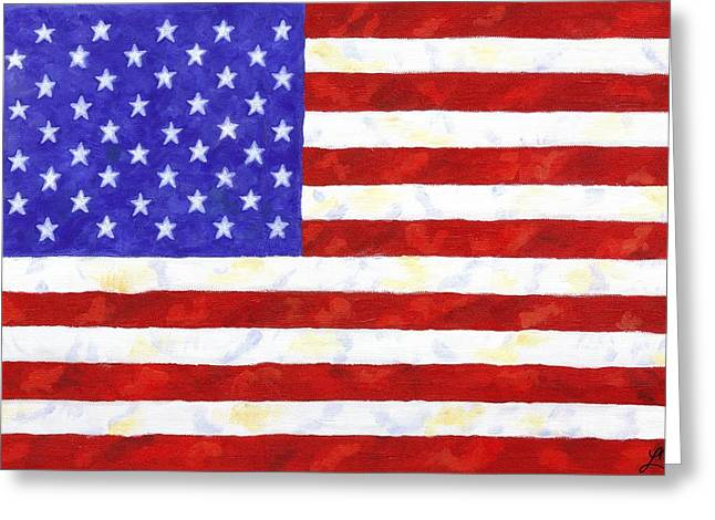 4th July Paintings Greeting Cards - American Flag Greeting Card by Linda Mears