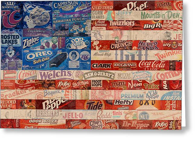 American Flag - Made From Vintage Recycled Pop Culture USA Paper Product Wrappers Greeting Card by Design Turnpike
