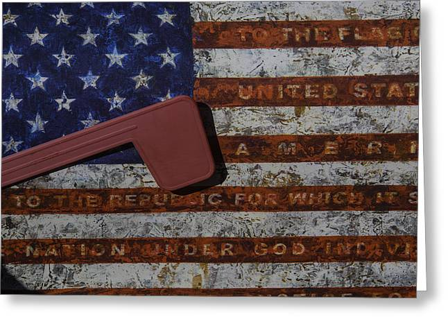 American Flag Mail Box Greeting Card by Garry Gay