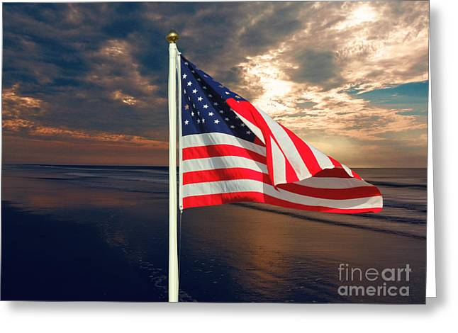 4th July Greeting Cards - American Flag Greeting Card by Mim White
