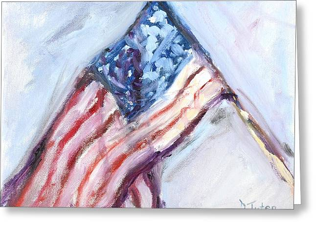 American Flag Painting Greeting Card by Donna Tuten