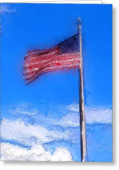 Charlotte Digital Greeting Cards - American Flag Painting Greeting Card by Morgan Carter