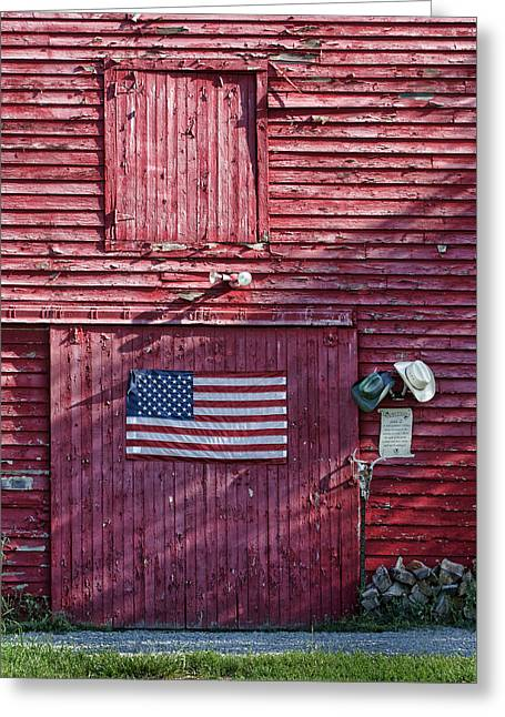 Out-building Greeting Cards - American Flag - Red Barn - Nebraska Greeting Card by Nikolyn McDonald