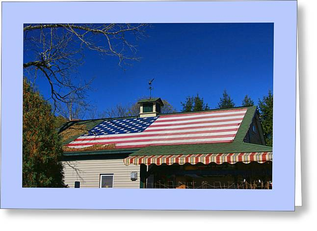 Flag Of Usa Greeting Cards - American Flag Roof Greeting Card by Allen Beatty
