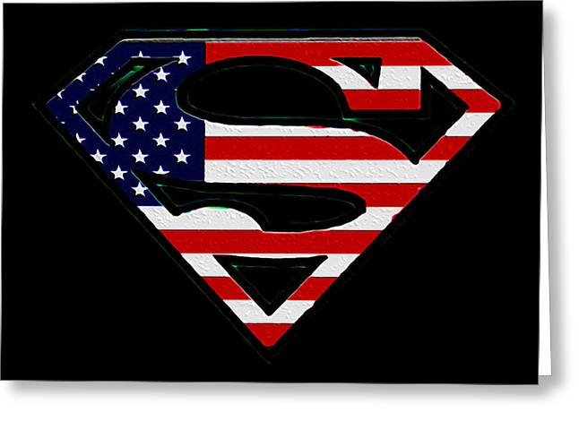 Justice League Greeting Cards - American Flag Superman Shield Greeting Card by Bill Cannon