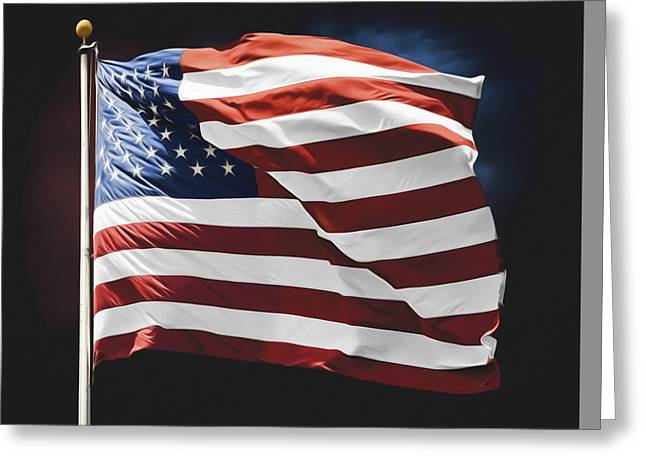 4th July Greeting Cards - American Flag Wall Art Greeting Card by Steven  Michael