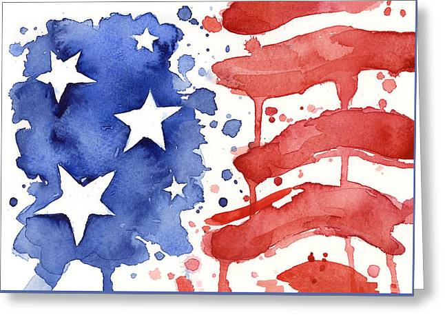 Red And Blue Greeting Cards - American Flag Watercolor Painting Greeting Card by Olga Shvartsur