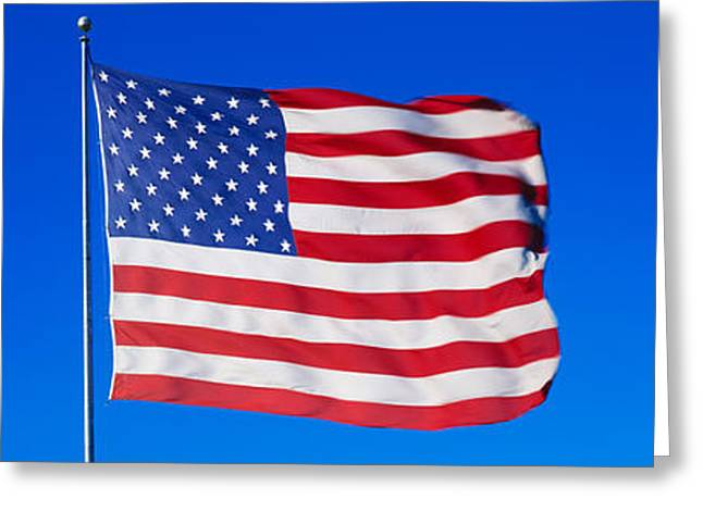 Flag Of Usa Greeting Cards - American Flag Waving In Wind Greeting Card by Panoramic Images