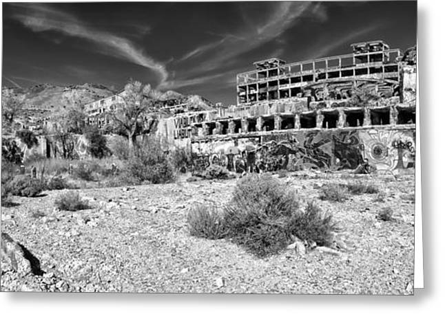 American Flat Mill Virginia City Nevada Panoramic Monochrome Greeting Card by Scott McGuire