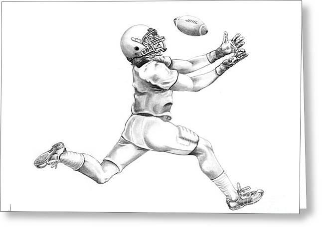 Player Drawings Greeting Cards - American Football Greeting Card by Murphy Elliott