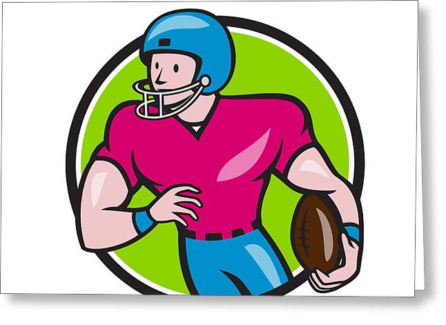 Tailback Greeting Cards - American Football Receiver Running Circle Cartoon Greeting Card by Aloysius Patrimonio