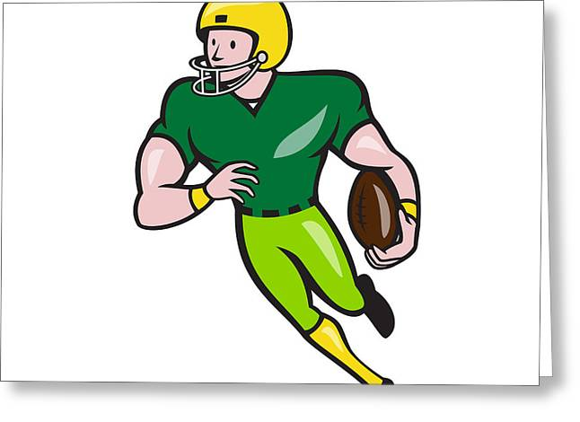 Wide Receiver Greeting Cards - American Football Receiver Running Isolated Cartoon  Greeting Card by Aloysius Patrimonio