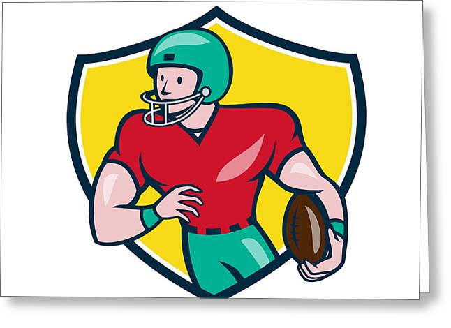 Tailback Greeting Cards - American Football Receiver Running Shield Cartoon Greeting Card by Aloysius Patrimonio