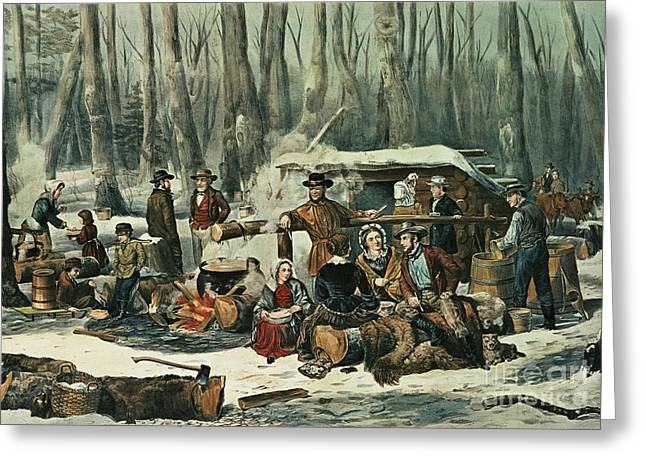 American Forest Scene Greeting Card by Currier and Ives