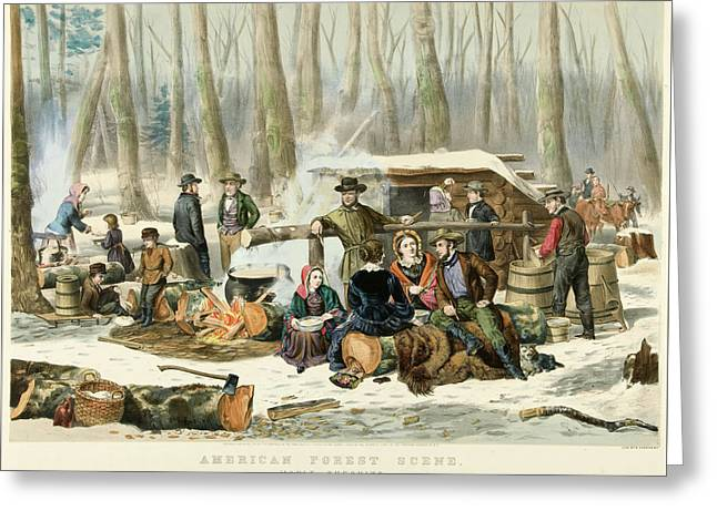 American Forest Scene Maple Sugaring Greeting Card by Currier and Ives