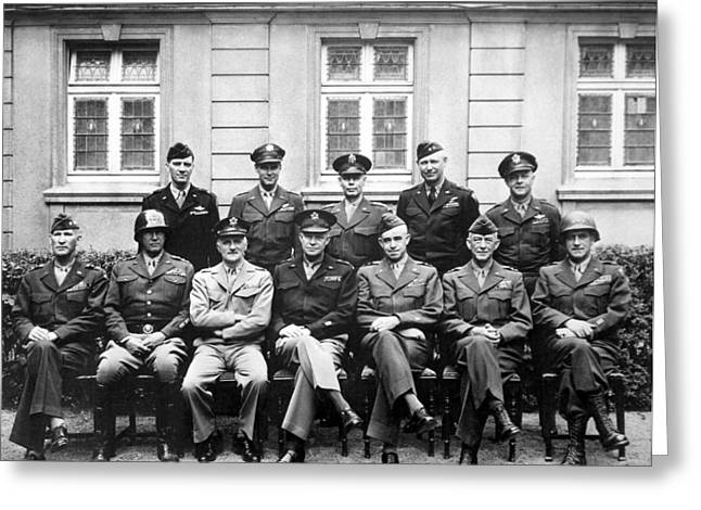 Army Photographs Greeting Cards - American Generals WWII  Greeting Card by War Is Hell Store