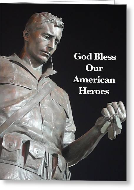 Print On Canvas Greeting Cards - American Hero Greeting Card by Joan Reese