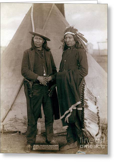 American Horse And Red Cloud, Indian Greeting Card by Science Source