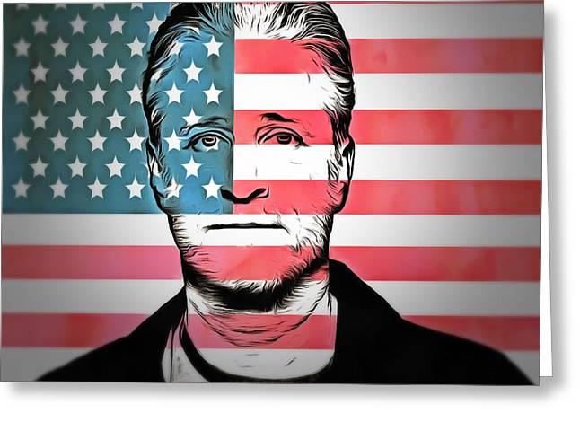 American Icon Jon Stewart Greeting Card by Dan Sproul