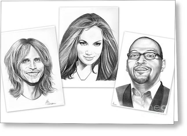 Famous Judges Drawings Greeting Cards - American Idol 2011 Greeting Card by Murphy Elliott