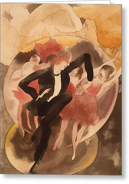 Night Out Paintings Greeting Cards - American In Vaudeville - Dancer With Chorus Greeting Card by Charles Demuth