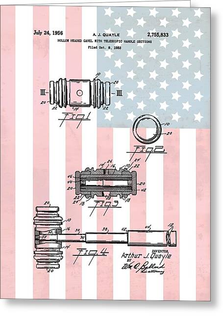 Fbi Mixed Media Greeting Cards - American Law Gavel Patent Greeting Card by Dan Sproul