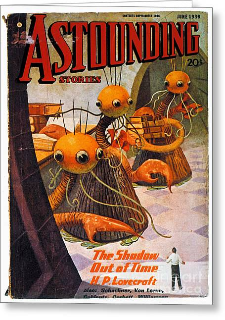 Astounding Science Fiction Greeting Cards - American Magazine Cover Greeting Card by Granger